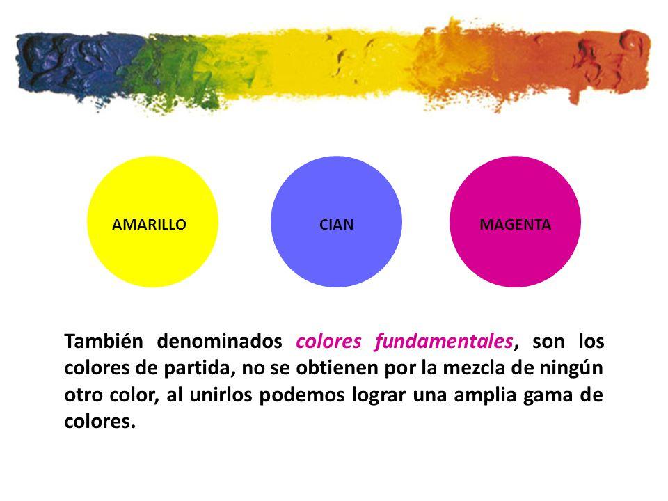 AMARILLOCIANMAGENTA También denominados colores fundamentales, son los colores de partida, no se obtienen por la mezcla de ningún otro color, al unirlos podemos lograr una amplia gama de colores.