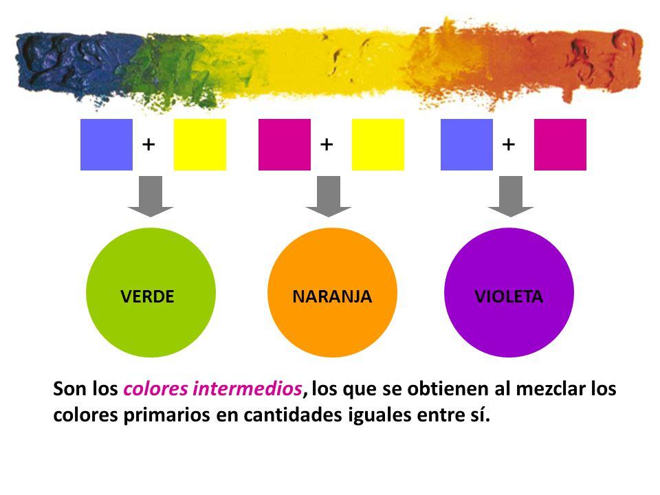 VERDENARANJAVIOLETA +++ Son los colores intermedios, los que se obtienen al mezclar los colores primarios en cantidades iguales entre sí.
