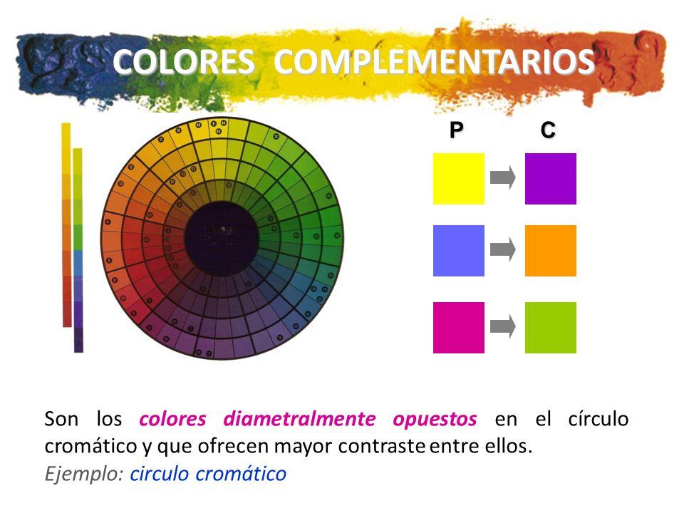 COLORES COMPLEMENTARIOS PC Son los colores diametralmente opuestos en el círculo cromático y que ofrecen mayor contraste entre ellos.