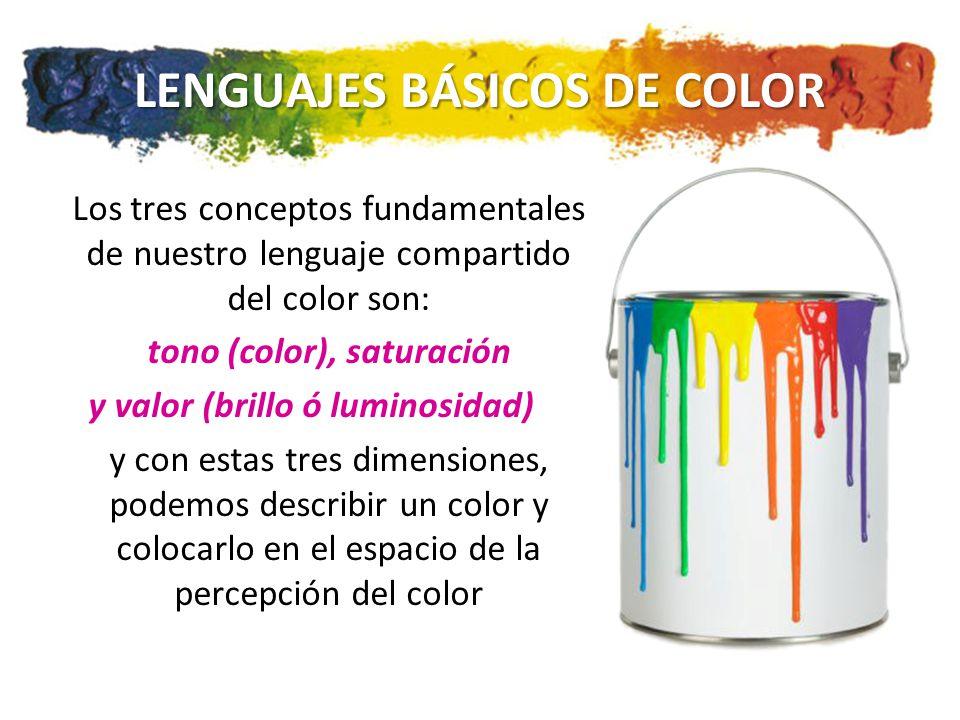 LENGUAJES BÁSICOS DE COLOR Los tres conceptos fundamentales de nuestro lenguaje compartido del color son: tono (color), saturación y valor (brillo ó luminosidad) y con estas tres dimensiones, podemos describir un color y colocarlo en el espacio de la percepción del color