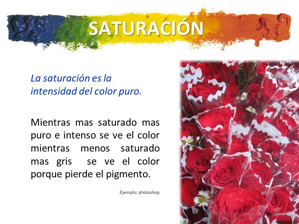 SATURACIÓN La saturación es la intensidad del color puro.