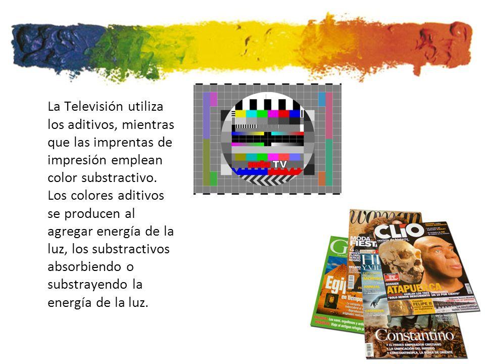La Televisión utiliza los aditivos, mientras que las imprentas de impresión emplean color substractivo.