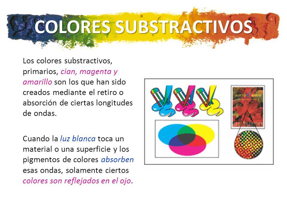 COLORES SUBSTRACTIVOS Los colores substractivos, primarios, cian, magenta y amarillo son los que han sido creados mediante el retiro o absorción de ciertas longitudes de ondas.