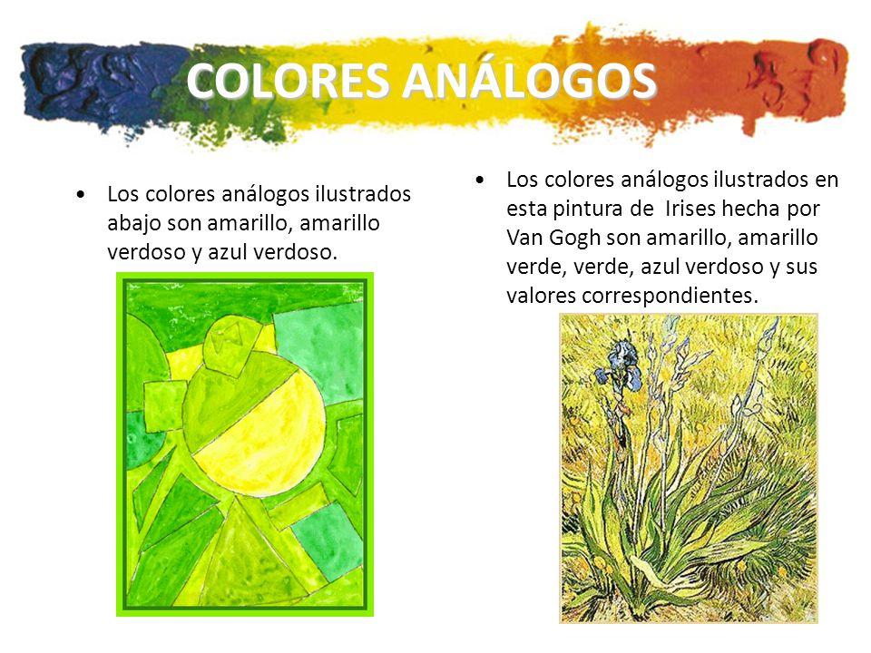 COLORES ANÁLOGOS Los colores análogos ilustrados abajo son amarillo, amarillo verdoso y azul verdoso.