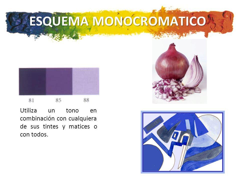 ESQUEMA MONOCROMATICO Utiliza un tono en combinación con cualquiera de sus tintes y matices o con todos.
