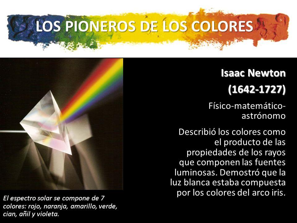 Isaac Newton (1642-1727) Físico-matemático- astrónomo Describió los colores como el producto de las propiedades de los rayos que componen las fuentes luminosas.