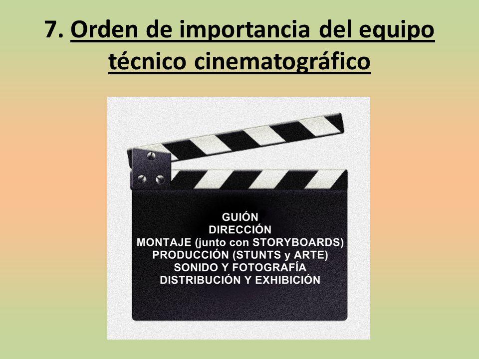7. Orden de importancia del equipo técnico cinematográfico