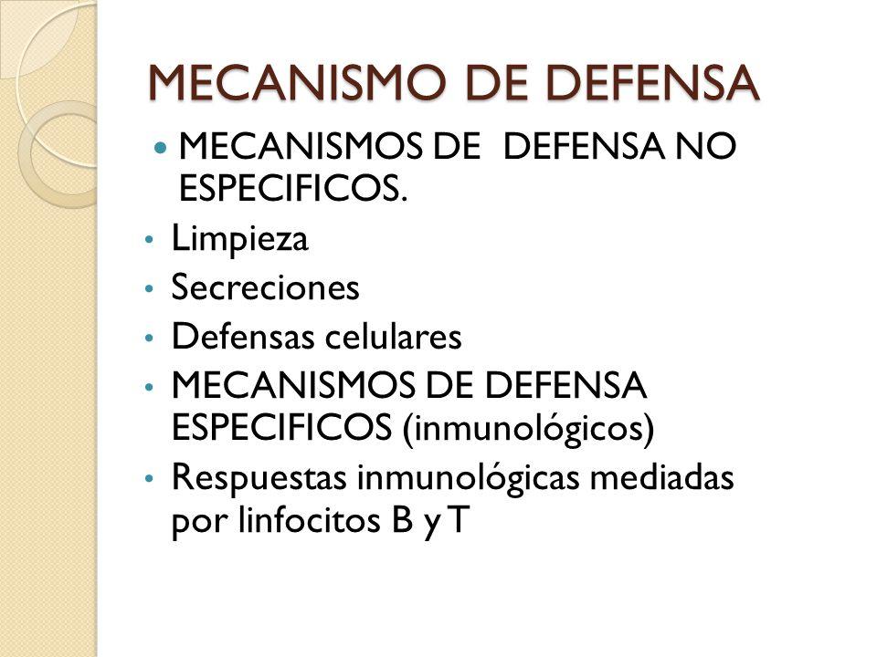 MECANISMO DE DEFENSA MECANISMOS DE DEFENSA NO ESPECIFICOS. Limpieza Secreciones Defensas celulares MECANISMOS DE DEFENSA ESPECIFICOS (inmunológicos) R