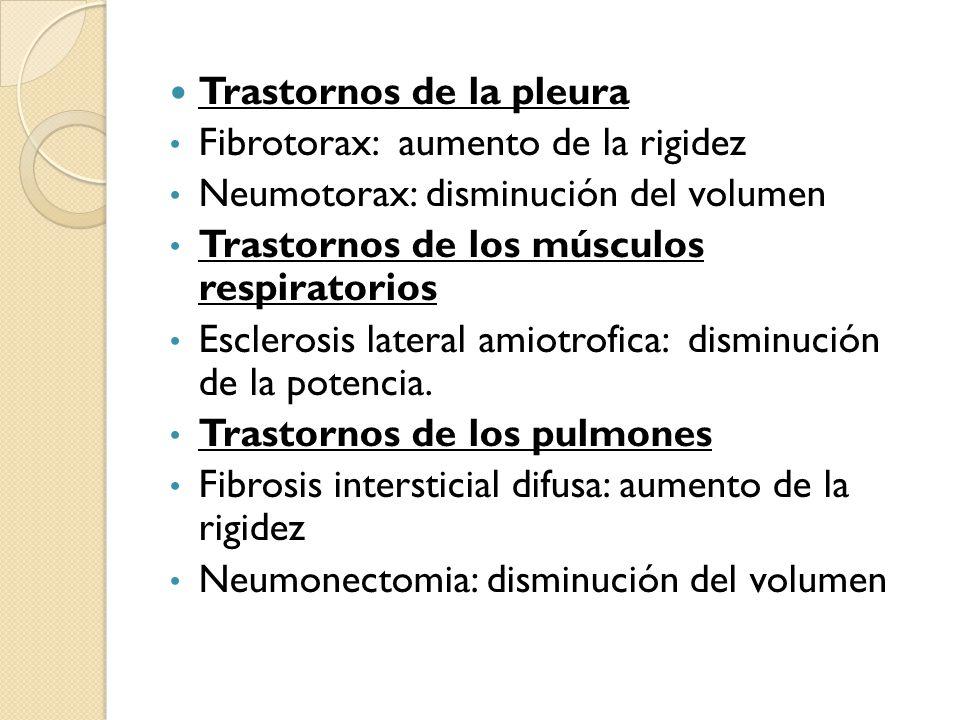 Trastornos de la pleura Fibrotorax: aumento de la rigidez Neumotorax: disminución del volumen Trastornos de los músculos respiratorios Esclerosis late