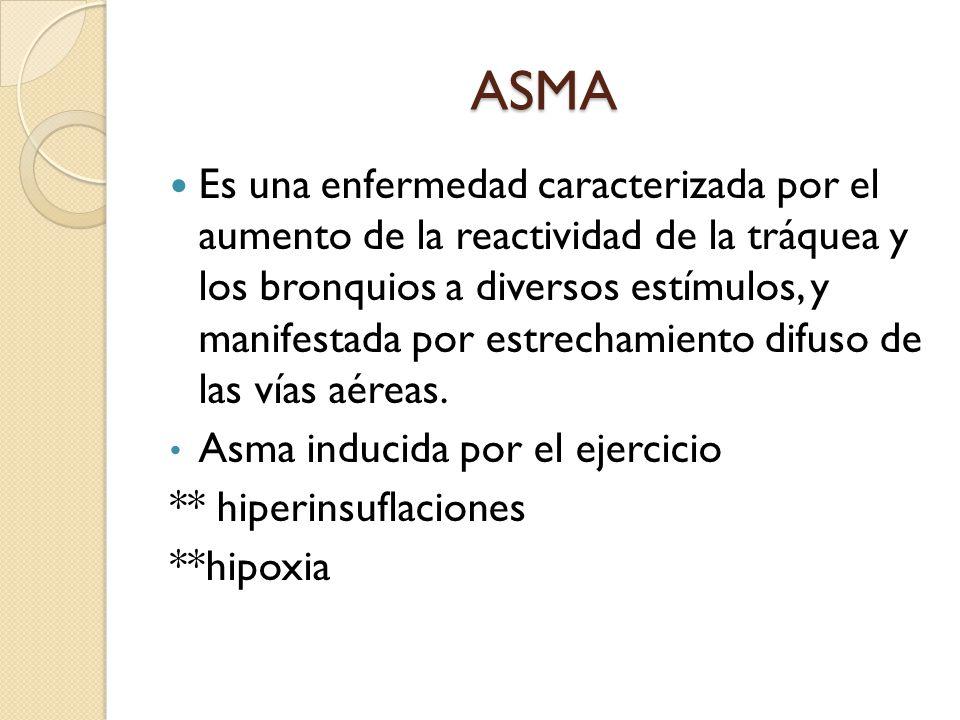 ASMA Es una enfermedad caracterizada por el aumento de la reactividad de la tráquea y los bronquios a diversos estímulos, y manifestada por estrechami