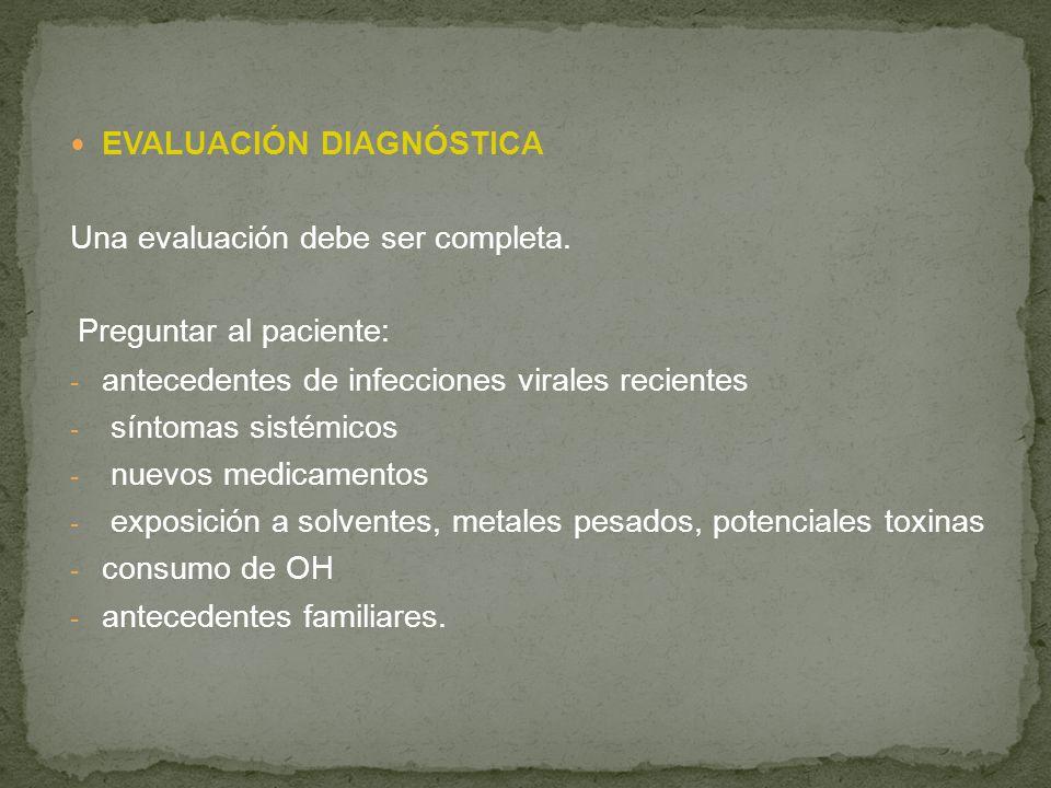EVALUACIÓN DIAGNÓSTICA Una evaluación debe ser completa. Preguntar al paciente: - antecedentes de infecciones virales recientes - síntomas sistémicos