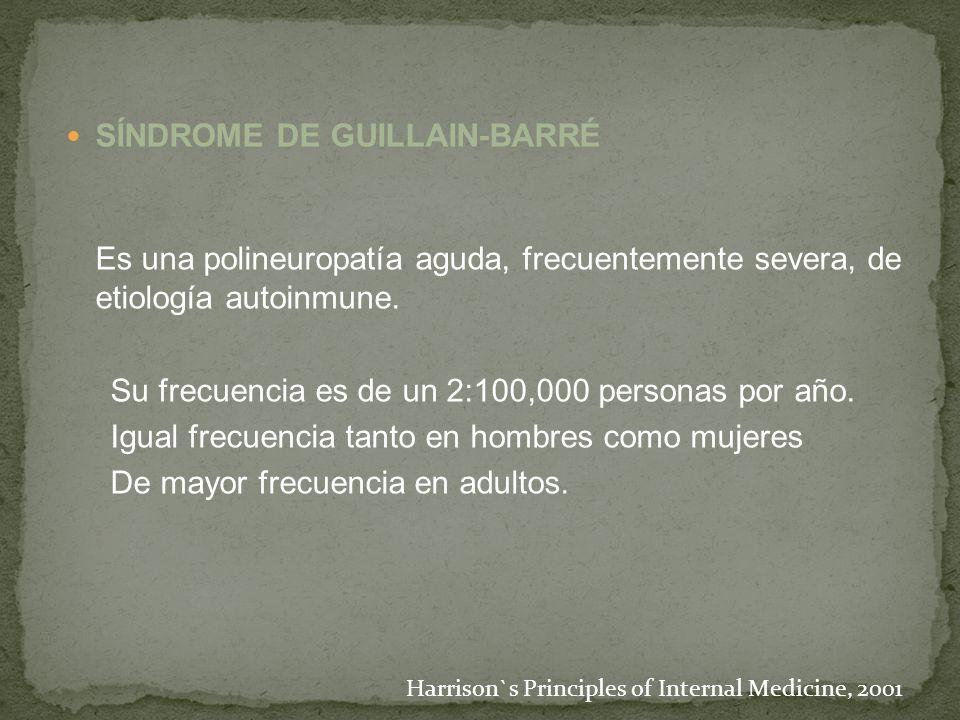 SÍNDROME DE GUILLAIN-BARRÉ Es una polineuropatía aguda, frecuentemente severa, de etiología autoinmune. Su frecuencia es de un 2:100,000 personas por