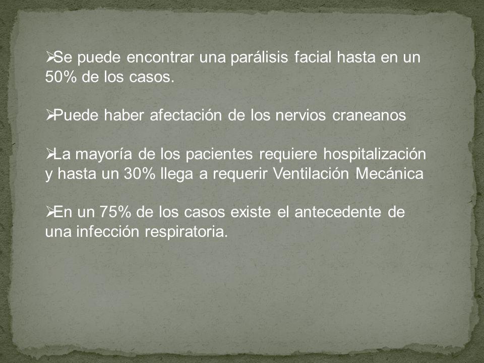 Se puede encontrar una parálisis facial hasta en un 50% de los casos. Puede haber afectación de los nervios craneanos La mayoría de los pacientes requ