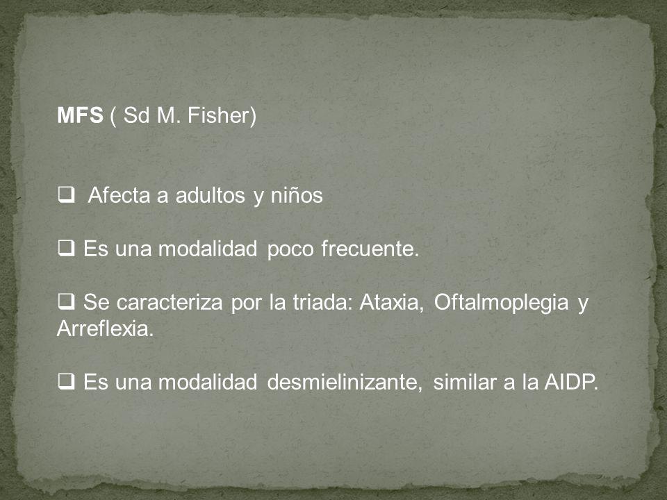 MFS ( Sd M. Fisher) Afecta a adultos y niños Es una modalidad poco frecuente. Se caracteriza por la triada: Ataxia, Oftalmoplegia y Arreflexia. Es una
