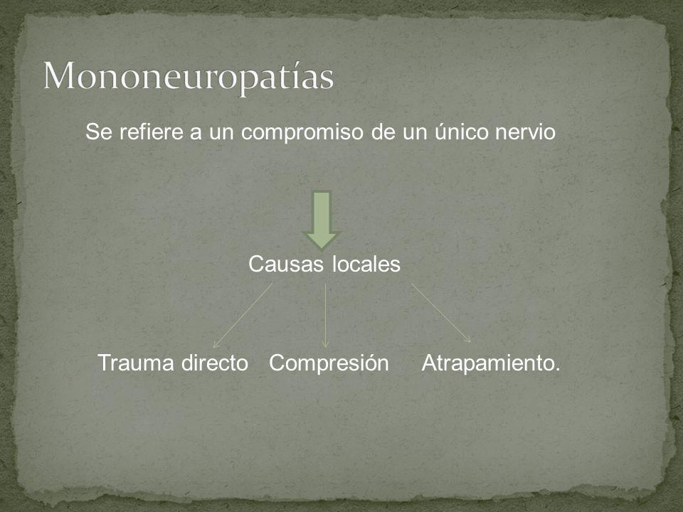 Se refiere a un compromiso de un único nervio Causas locales Trauma directo Compresión Atrapamiento.