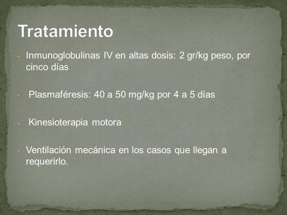 - Inmunoglobulinas IV en altas dosis: 2 gr/kg peso, por cinco días - Plasmaféresis: 40 a 50 mg/kg por 4 a 5 días - Kinesioterapia motora - Ventilación