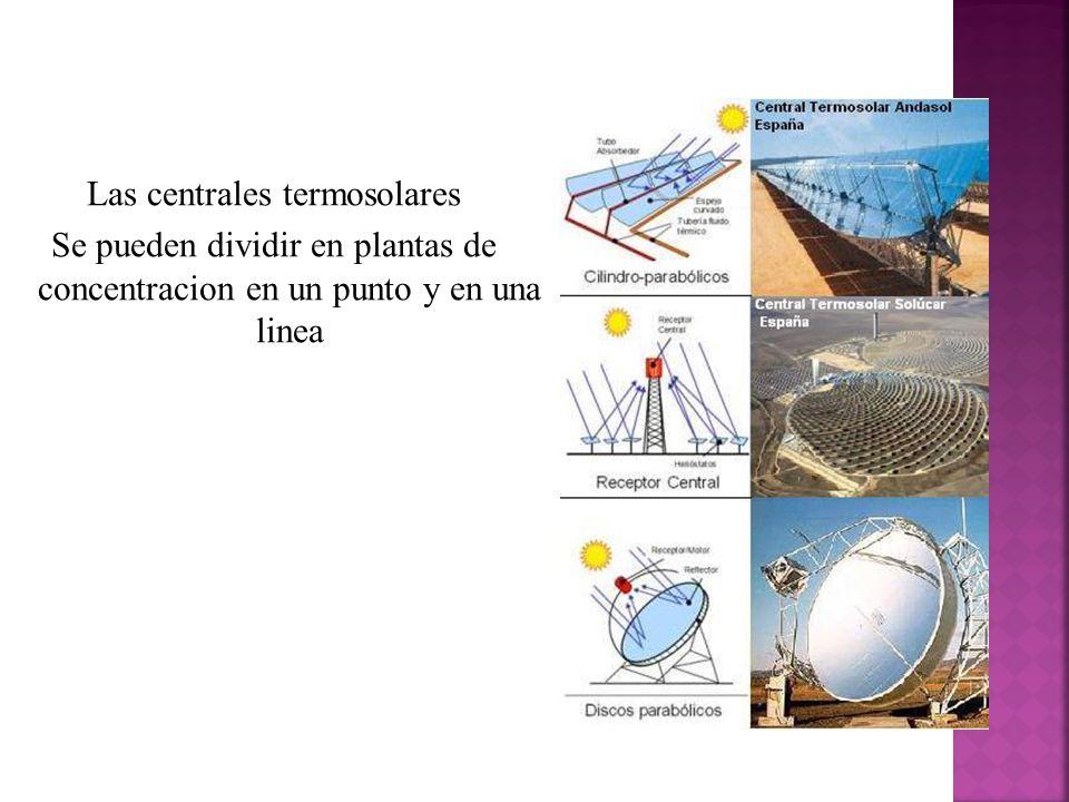 Las centrales termosolares Se pueden dividir en plantas de concentracion en un punto y en una linea