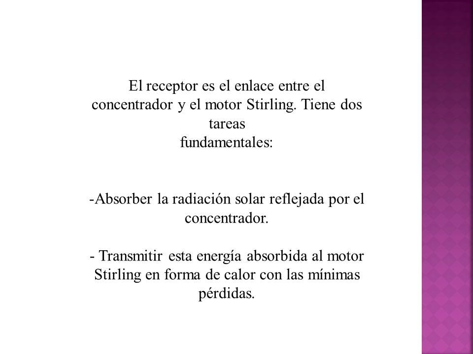 El receptor es el enlace entre el concentrador y el motor Stirling.