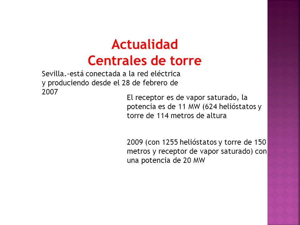 Actualidad Centrales de torre Sevilla.-está conectada a la red eléctrica y produciendo desde el 28 de febrero de 2007 El receptor es de vapor saturado, la potencia es de 11 MW (624 helióstatos y torre de 114 metros de altura 2009 (con 1255 helióstatos y torre de 150 metros y receptor de vapor saturado) con una potencia de 20 MW