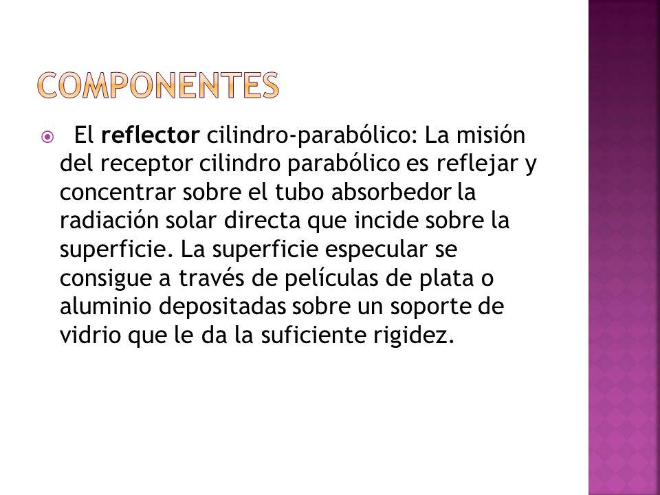El reflector cilindro-parabólico: La misión del receptor cilindro parabólico es reflejar y concentrar sobre el tubo absorbedor la radiación solar directa que incide sobre la superficie.