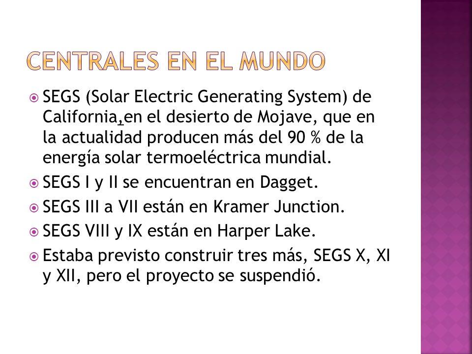 SEGS (Solar Electric Generating System) de California,en el desierto de Mojave, que en la actualidad producen más del 90 % de la energía solar termoeléctrica mundial.