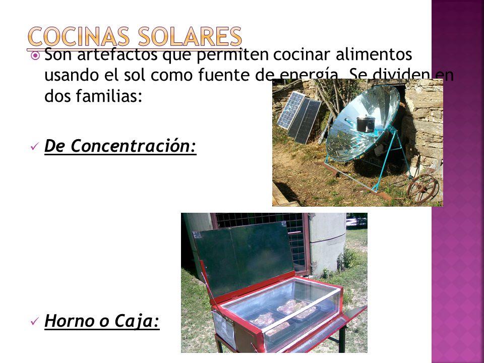 Son artefactos que permiten cocinar alimentos usando el sol como fuente de energía.