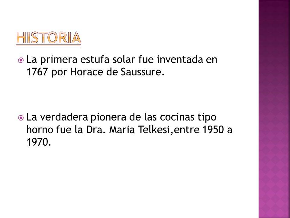 La primera estufa solar fue inventada en 1767 por Horace de Saussure.