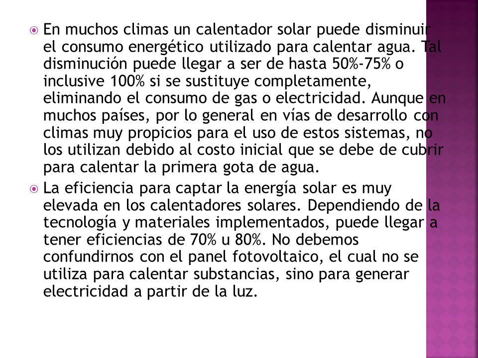 En muchos climas un calentador solar puede disminuir el consumo energético utilizado para calentar agua.