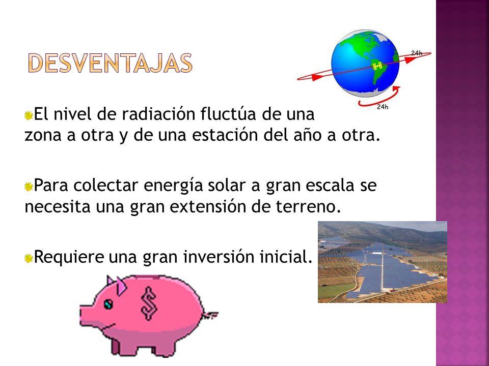El nivel de radiación fluctúa de una zona a otra y de una estación del año a otra.