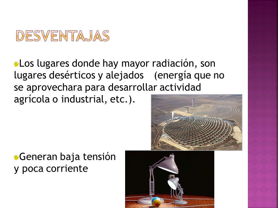 Los lugares donde hay mayor radiación, son lugares desérticos y alejados(energía que no se aprovechara para desarrollar actividad agrícola o industrial, etc.).