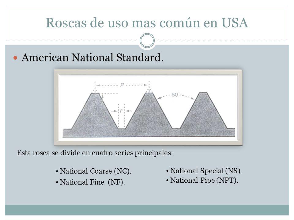 Roscas de uso mas común en USA American National Standard. Esta rosca se divide en cuatro series principales: National Coarse (NC). National Fine (NF)
