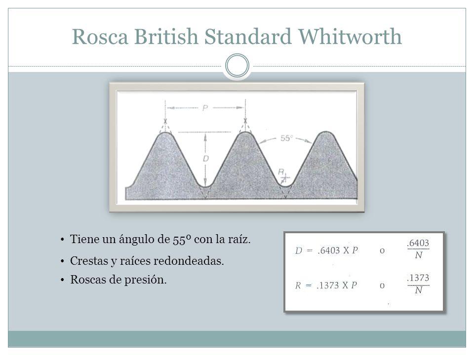 Rosca British Standard Whitworth Tiene un ángulo de 55º con la raíz. Crestas y raíces redondeadas. Roscas de presión.