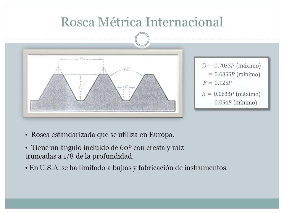 Rosca Métrica Internacional Rosca estandarizada que se utiliza en Europa. Tiene un ángulo incluido de 60º con cresta y raíz truncadas a 1/8 de la prof