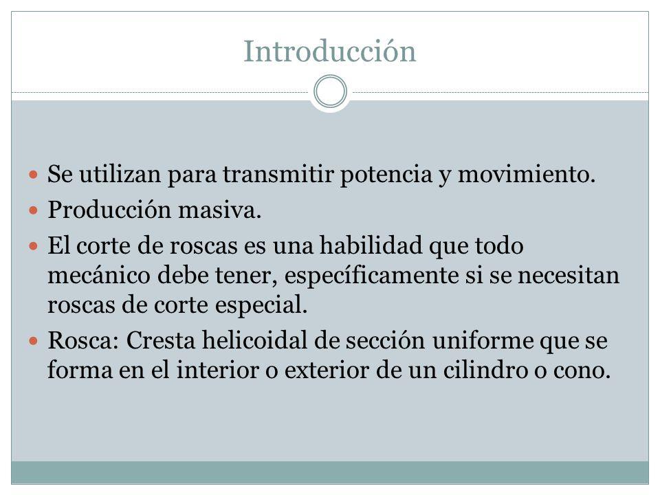 Introducción Las roscas se usan para varios propósitos: - Sujetar dispositivos como tornillos, pernos, espárragos y roscas.