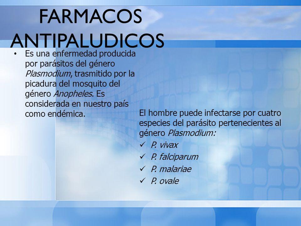 FARMACOS ANTIPALUDICOS Es una enfermedad producida por parásitos del género Plasmodium, trasmitido por la picadura del mosquito del género Anopheles.