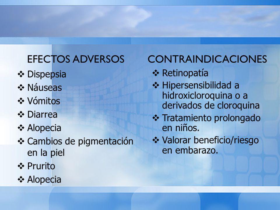 EFECTOS ADVERSOS Dispepsia Náuseas Vómitos Diarrea Alopecia Cambios de pigmentación en la piel Prurito Alopecia CONTRAINDICACIONES Retinopatía Hiperse