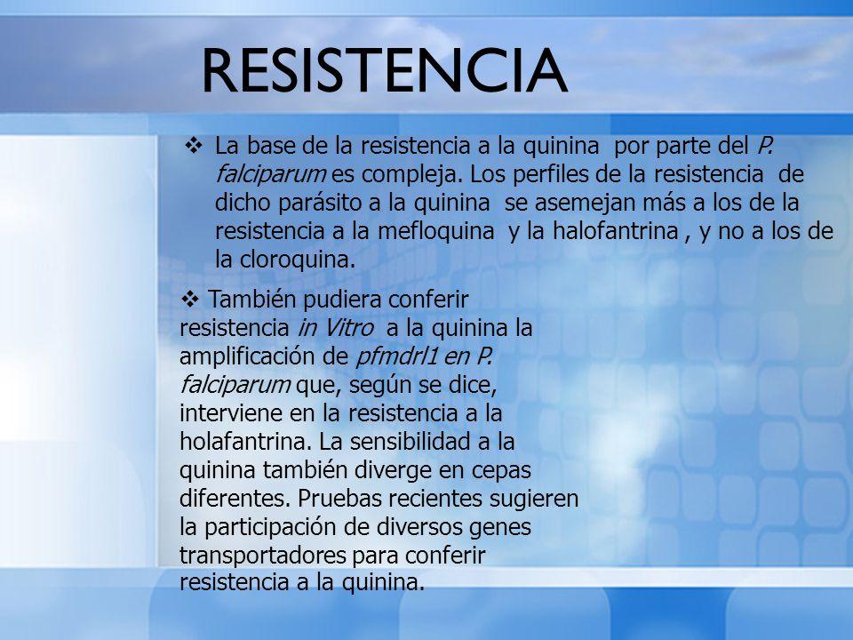 RESISTENCIA La base de la resistencia a la quinina por parte del P. falciparum es compleja. Los perfiles de la resistencia de dicho parásito a la quin