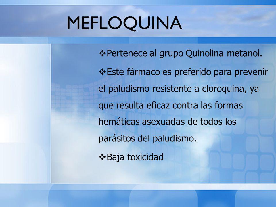 Pertenece al grupo Quinolina metanol. Este fármaco es preferido para prevenir el paludismo resistente a cloroquina, ya que resulta eficaz contra las f