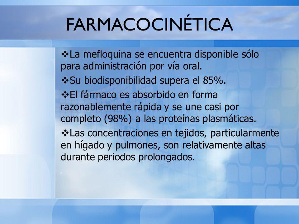 La mefloquina se encuentra disponible sólo para administración por vía oral. Su biodisponibilidad supera el 85%. El fármaco es absorbido en forma razo