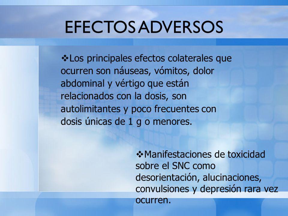 Los principales efectos colaterales que ocurren son náuseas, vómitos, dolor abdominal y vértigo que están relacionados con la dosis, son autolimitante