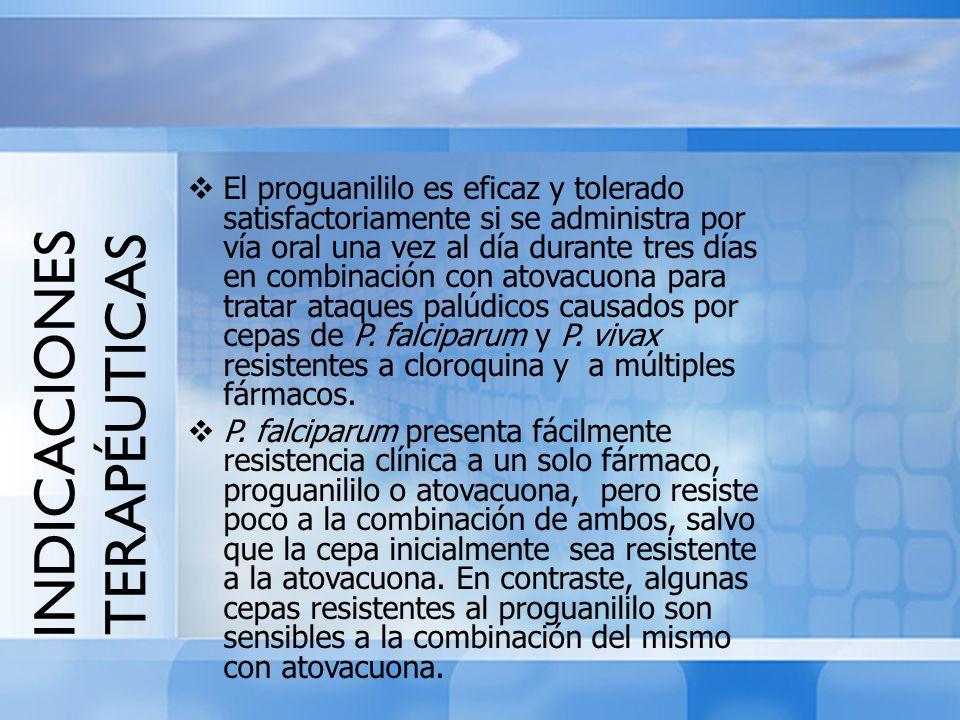 INDICACIONES TERAPÉUTICAS El proguanililo es eficaz y tolerado satisfactoriamente si se administra por vía oral una vez al día durante tres días en co