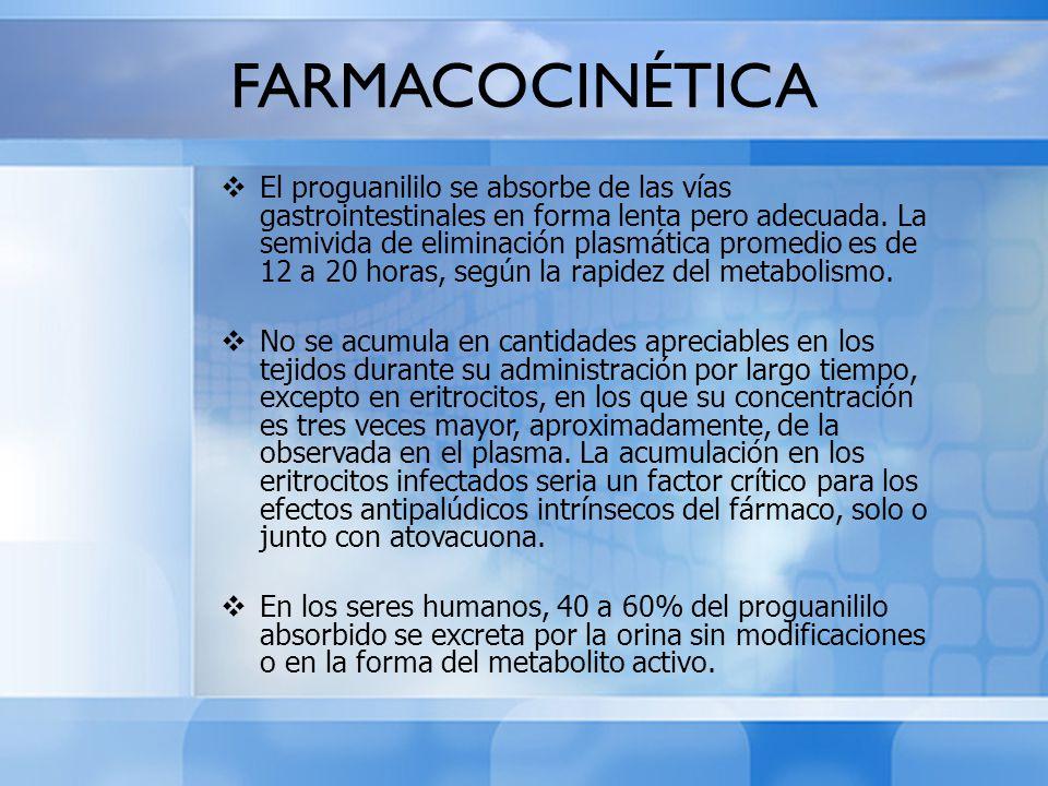 FARMACOCINÉTICA El proguanililo se absorbe de las vías gastrointestinales en forma lenta pero adecuada. La semivida de eliminación plasmática promedio