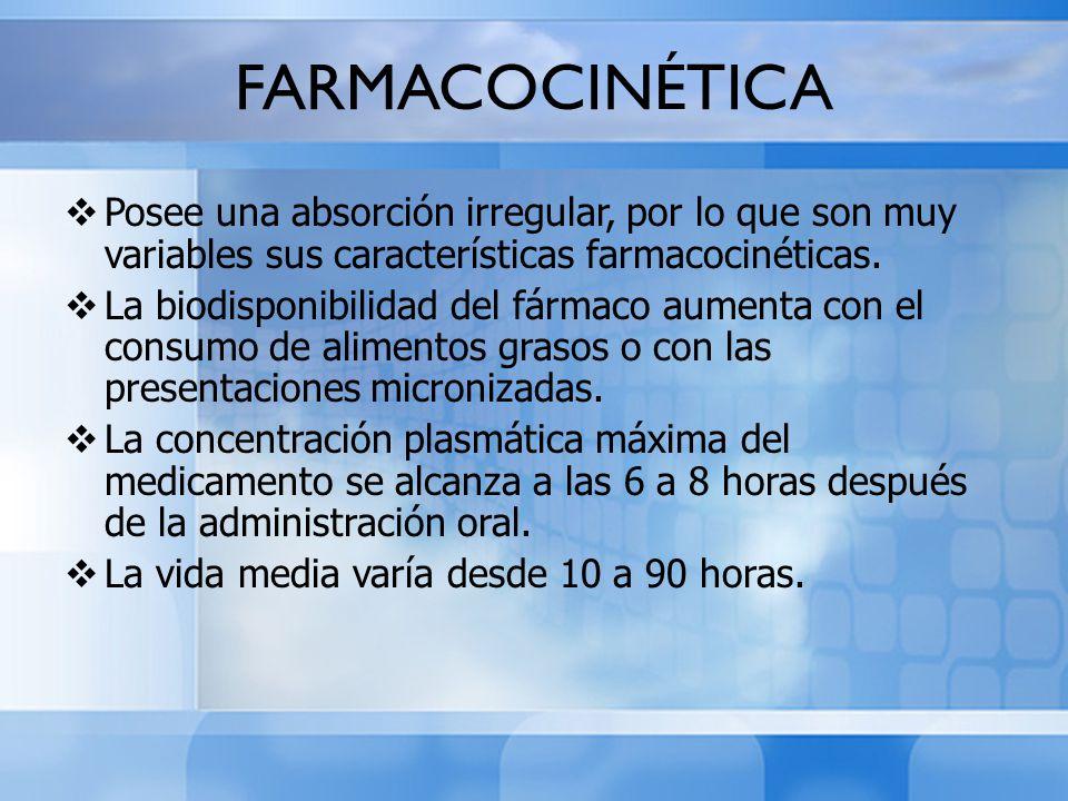 FARMACOCINÉTICA Posee una absorción irregular, por lo que son muy variables sus características farmacocinéticas. La biodisponibilidad del fármaco aum