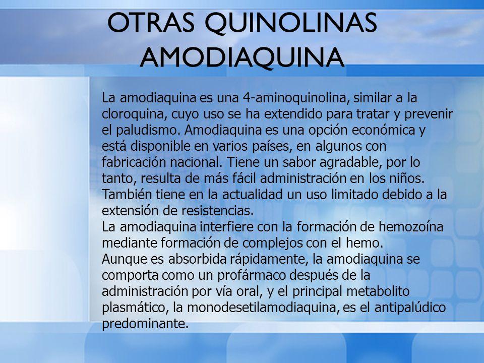 La amodiaquina es una 4-aminoquinolina, similar a la cloroquina, cuyo uso se ha extendido para tratar y prevenir el paludismo. Amodiaquina es una opci
