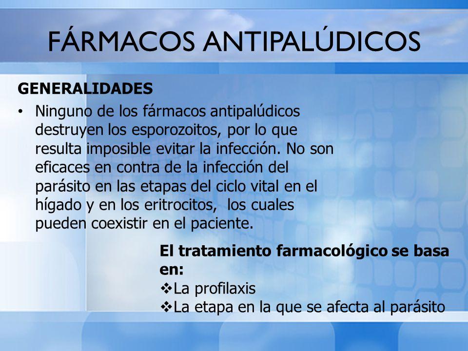 FÁRMACOS ANTIPALÚDICOS GENERALIDADES Ninguno de los fármacos antipalúdicos destruyen los esporozoitos, por lo que resulta imposible evitar la infecció