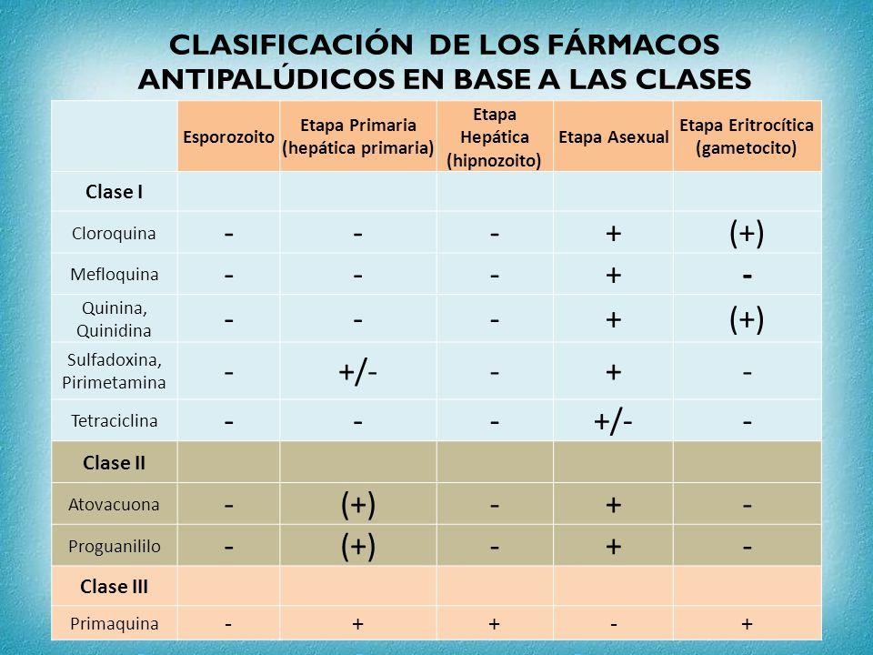 CLASIFICACIÓN DE LOS FÁRMACOS ANTIPALÚDICOS EN BASE A LAS CLASES Esporozoito Etapa Primaria (hepática primaria) Etapa Hepática (hipnozoito) Etapa Asex