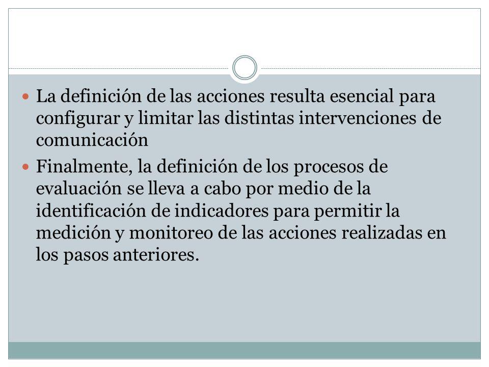 La definición de las acciones resulta esencial para configurar y limitar las distintas intervenciones de comunicación Finalmente, la definición de los procesos de evaluación se lleva a cabo por medio de la identificación de indicadores para permitir la medición y monitoreo de las acciones realizadas en los pasos anteriores.
