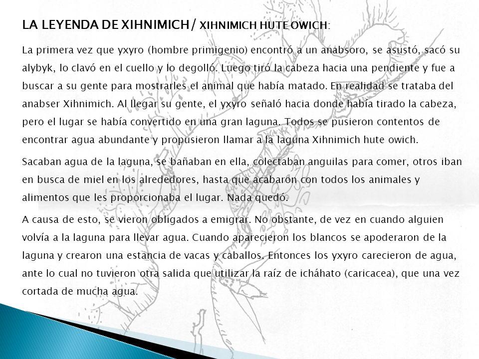 LA LEYENDA DE XIHNIMICH / XIHNIMICH HUTE OWICH: La primera vez que yxyro (hombre primigenio) encontró a un anabsoro, se asustó, sacó su alybyk, lo cla