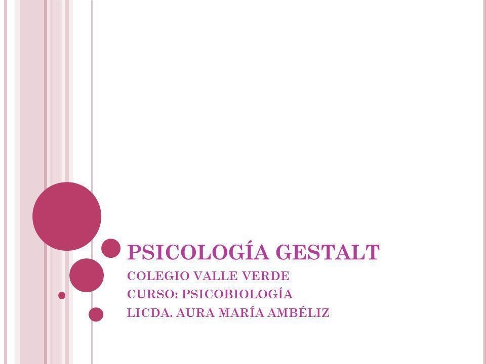 QUE ES LA GESTALT Significa psicología de la forma o psicología de la estructura.