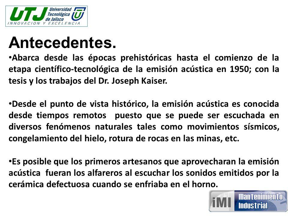 Antecedentes. Abarca desde las épocas prehistóricas hasta el comienzo de la etapa científico-tecnológica de la emisión acústica en 1950; con la tesis